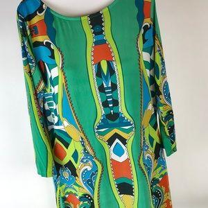 Erow Dress Boho Mod Geometric Print 3/4 Sleeve